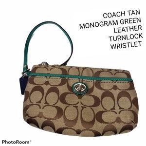 COACH Monogram Tan Green TurnLock Pocket Wristlet